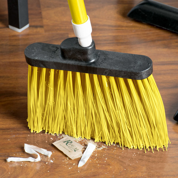 "Carlisle 4108304 Sparta Spectrum Duo-Sweep 56"" Unflagged Yellow Angle Broom - 12/Case"