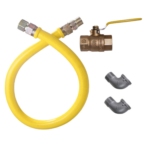 """Dormont 1650NPKIT60 60"""" Stainless Steel Stationary Foodservice Gas Connector Kit - 1/2"""" Diameter Main Image 1"""