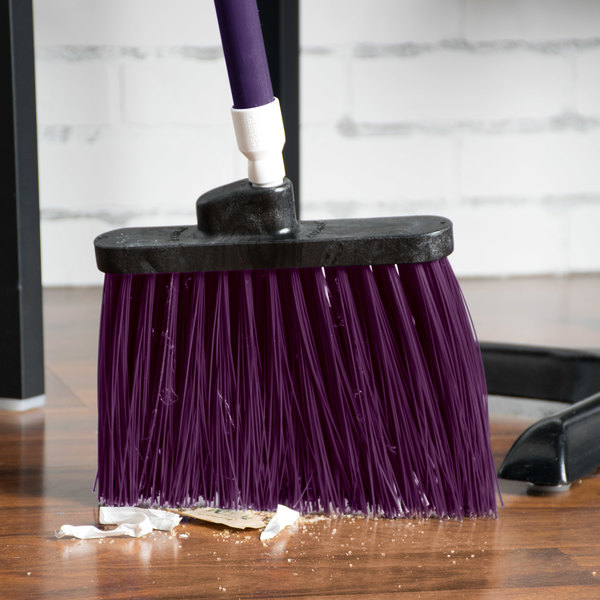 "Carlisle 4108368 Sparta Spectrum Duo-Sweep 12"" Angled Broom with Purple Unflagged Bristles and 48"" Handle Main Image 5"