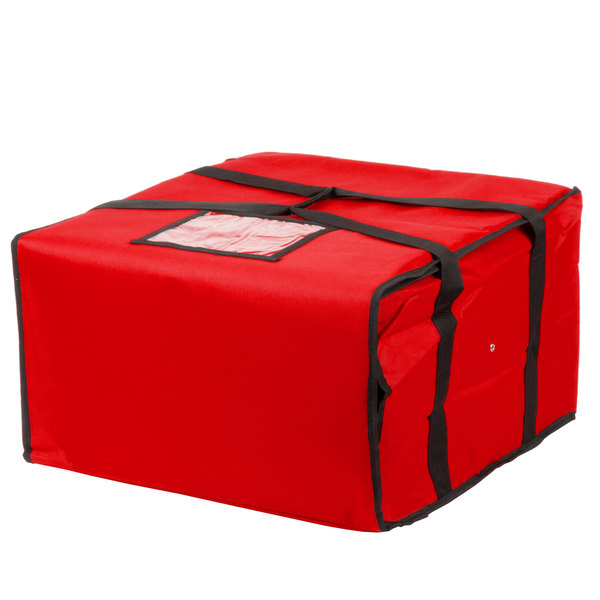 Choice Insulated Pizza Delivery Bag, Red Nylon, 20 inch x 20 inch x 12 inch - Holds Up To (6) 16 inch, (5) 18 inch, or (4) 20 inch Pizza Boxes