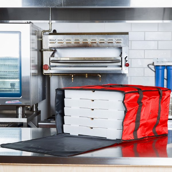 """Choice Insulated Pizza Delivery Bag, Red Nylon, 20"""" x 20"""" x 12"""" - Holds up to (6) 16"""" or (5) 18"""" Pizza Boxes"""