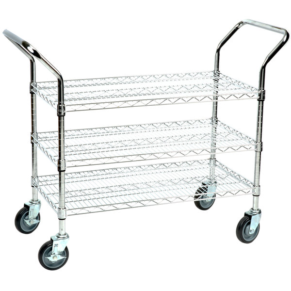 """Regency 18"""" x 36"""" Three Shelf Chrome Heavy Duty Utility Cart"""