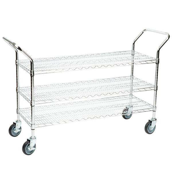 "Regency 18"" x 42"" Three Shelf Chrome Heavy Duty Utility Cart Main Image 1"