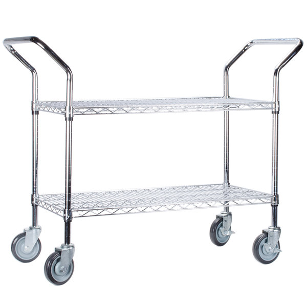 "Regency 18"" x 42"" Two Shelf Chrome Heavy Duty Utility Cart Main Image 1"