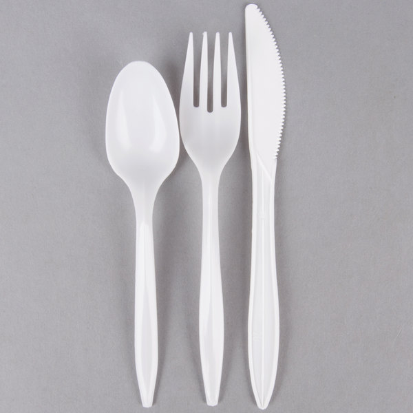 50//Pack Choice Individually Wrapped Medium Weight Plastic Cutlery with Napkin