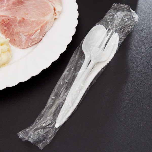 Choice Individually Wrapped Medium Weight White Plastic Cutlery Set with Knife, Fork, and Spoon - 50/Pack