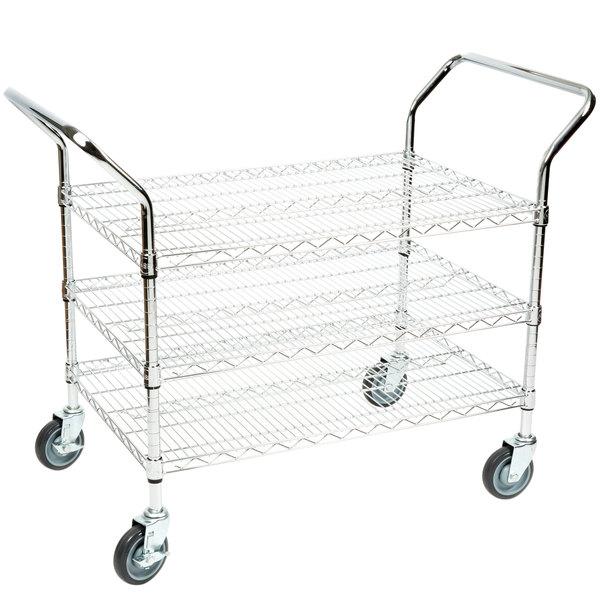 "Regency 24"" x 36"" Three Shelf Chrome Heavy Duty Utility Cart Main Image 1"