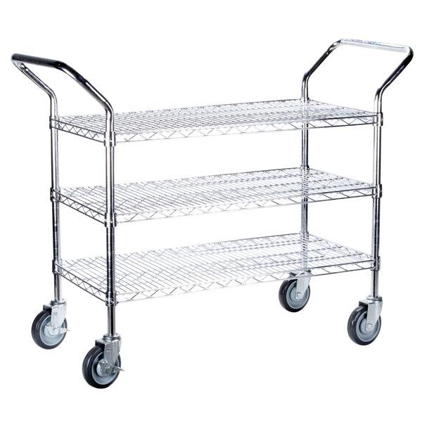 Regency 18 inch x 24 inch Three Shelf Chrome Heavy Duty Utility Cart