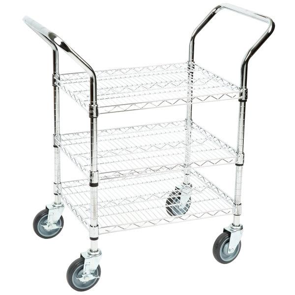 """Regency 18"""" x 24"""" Three Shelf Chrome Heavy Duty Utility Cart"""