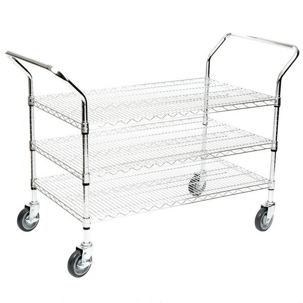 """Regency 24"""" x 42"""" Three Shelf Chrome Heavy Duty Utility Cart"""
