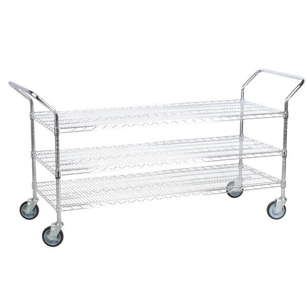 """Regency 24"""" x 60"""" Three Shelf Chrome Heavy Duty Utility Cart"""