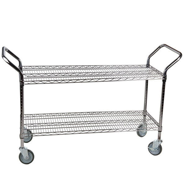 """Regency 24"""" x 42"""" Two Shelf Chrome Heavy Duty Utility Cart Main Image 1"""