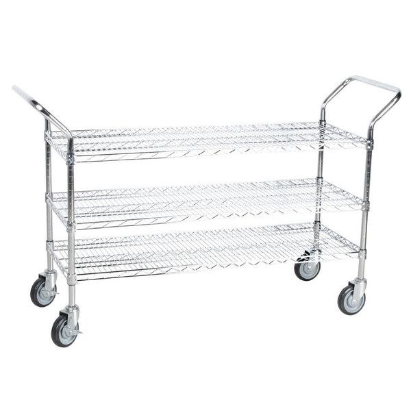 "Regency 24"" x 48"" Three Shelf Chrome Heavy Duty Utility Cart Main Image 1"