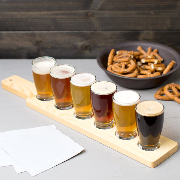 Anchor Hocking Craft Brews Beer Flight - 6 Glasses with Natural Wood Paddle