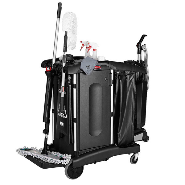 Rubbermaid 1861427 Executive High Security Janitor Cart with Locking Hood and Cabinets Main Image 3