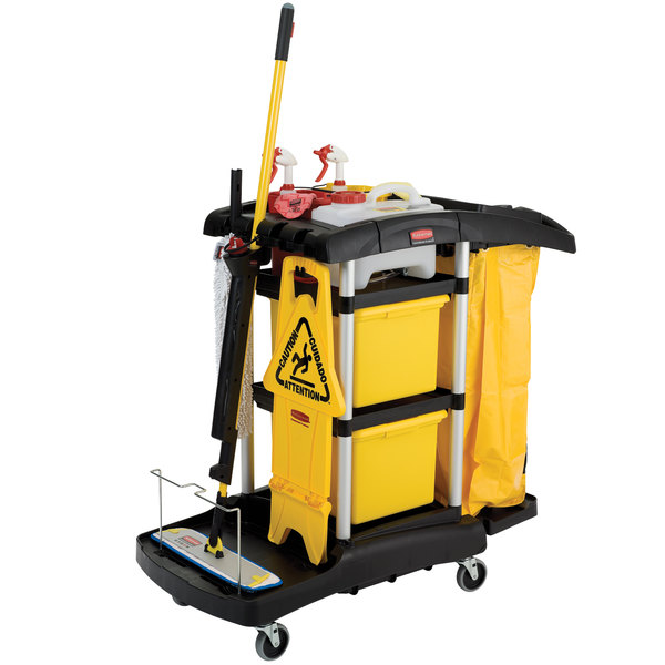 Rubbermaid FG9T7400BLA HYGEN Microfiber High Capacity Janitor Cart with Color Coded Pails Main Image 3