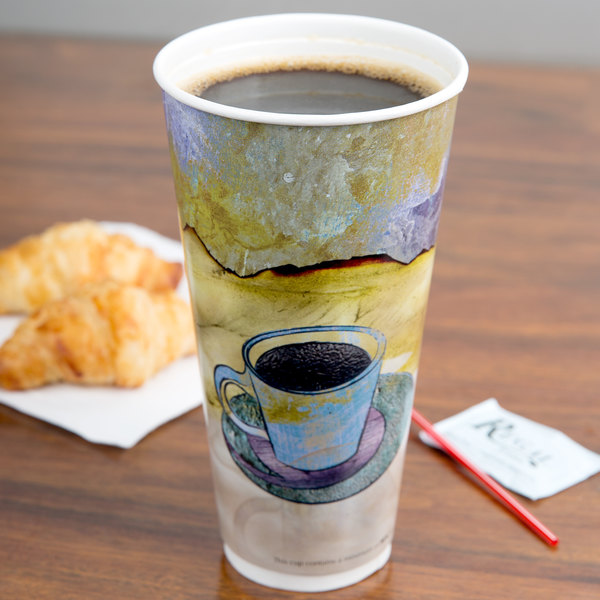 LBP 3058 Monaco 24 oz. Printed Double-Wall Poly Paper Hot Cup - 29/Pack