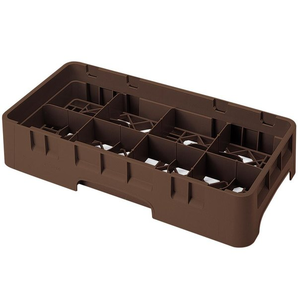 """Cambro 8HS1114167 Brown Camrack Customizable 8 Compartment 11 3/4"""" Half Size Glass Rack"""