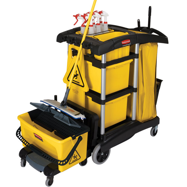 Rubbermaid FG9T7300BLA HYGEN Microfiber High Capacity Janitor Cart with Bins Main Image 2