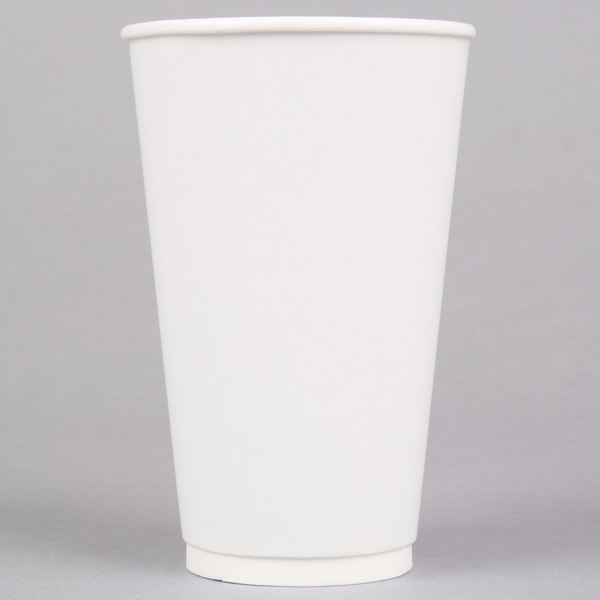 LBP 3002 Gourmet White 16 oz. Double-Wall Poly Paper Hot Cup - 27/Pack