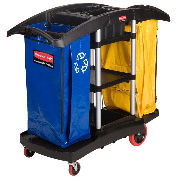 Rubbermaid FG9T7900BLA Double Capacity Janitor Cart