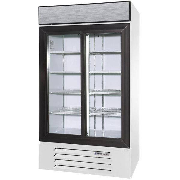 "Beverage-Air LV38HC-1-W LumaVue 43"" White Refrigerated Glass Door Merchandiser with LED Lighting"