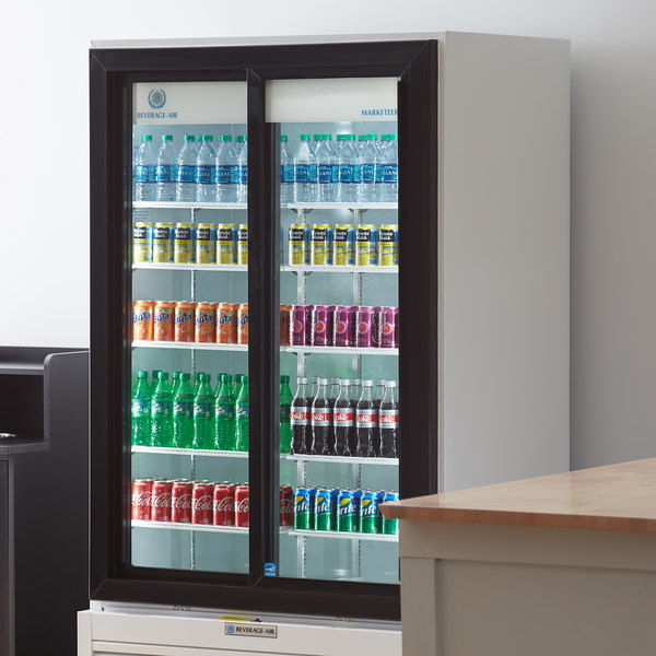 "Beverage-Air LV38HC-1-W LumaVue 43"" White Refrigerated Glass Door Merchandiser with LED Lighting Main Image 6"