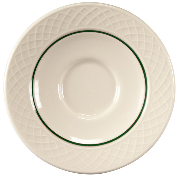 "Homer Laughlin 1430-0328 Green Jade Gothic Off White 4 1/2"" China Saucer - 36/Case"