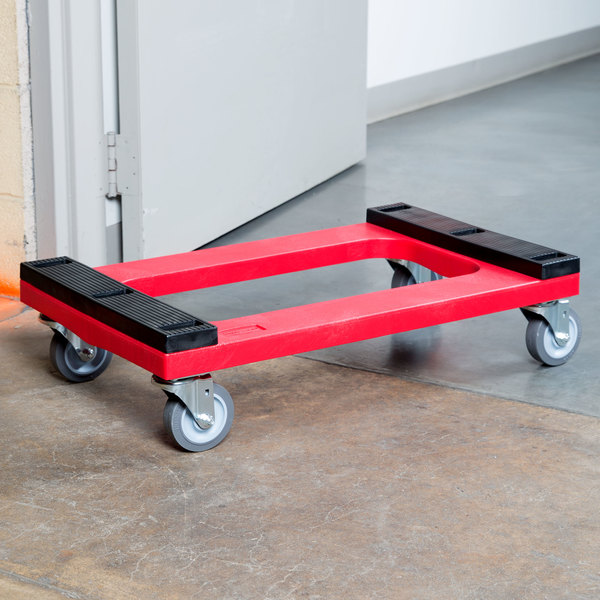 "Rubbermaid FG9T5500RED Polyethylene Flush Deck Dolly with Padded Deck - 30"" x 18"""