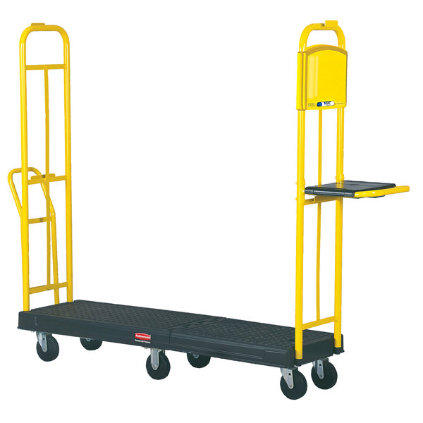 "Rubbermaid FG9T4500BLA StockMate Restocking Truck (U-boat) with Hinging Deck - 63"" x 18"""