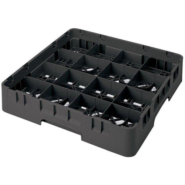 "Cambro 16S638110 Camrack 6 7/8"" High Customizable Black 16 Compartment Glass Rack Main Image 1"
