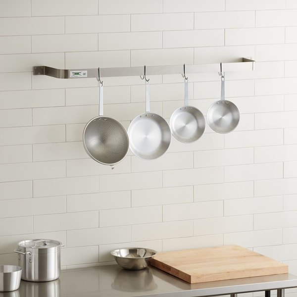 """Regency 48"""" Stainless Steel Wall Mounted Single Line Pot Rack with 4 Double Prong Hooks"""