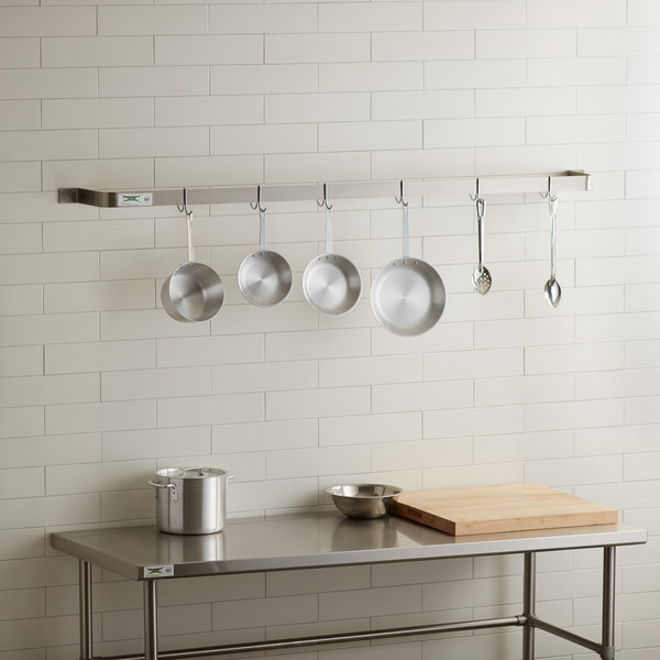 """Regency 72"""" Stainless Steel Wall Mounted Single Line Pot Rack with 6 Double Prong Hooks Main Image 3"""