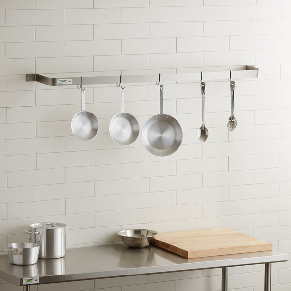 """Regency 60"""" Stainless Steel Wall Mounted Single Line Pot Rack with 5 Double Prong Hooks"""