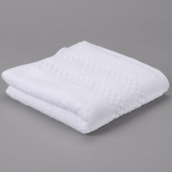 """Pack of 12 Hotel Hand Towel - Oxford Viceroy 16"""" x 30"""" 100% Combed Cotton Terry Towel with Dobby Checkered Border and Dobby Twill Hemmed 4.5 lb."""