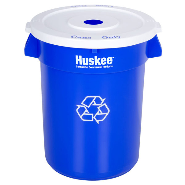 Continental 32 Gallon Blue Recycling Trash Can and Lid Set Main Image 1