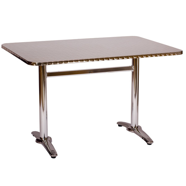 BFM Seating PHTB2232 Stiletto Standard Height Outdoor / Indoor Silver Trestle Table Base Main Image 1