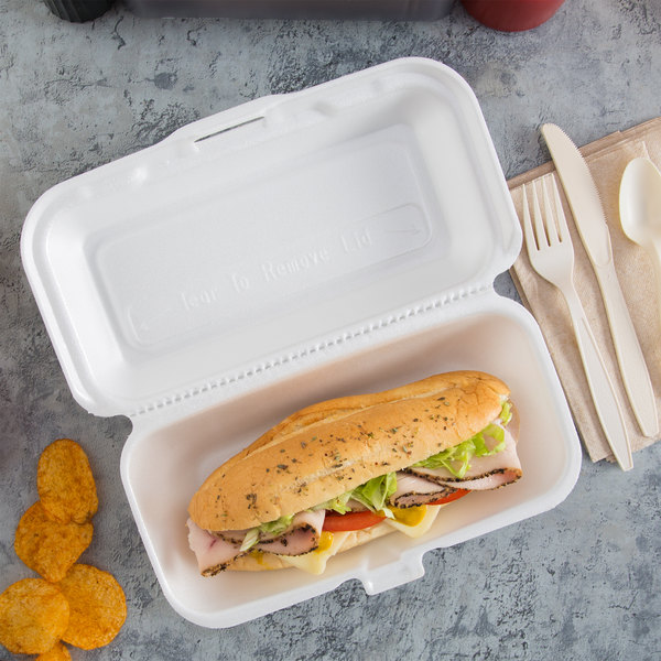 """Dart 99HT1R 10"""" x 5 1/2"""" x 3"""" White Foam Hoagie Take Out Container with Perforated Hinged Lid - 125/Pack"""