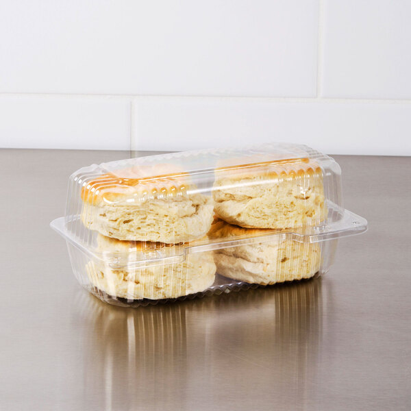 """Dart C19UT1 StayLock 8 1/2"""" x 4 1/2"""" x 3 5/8"""" Clear Hinged Plastic Small High Dome Oblong Container - 125/Pack Main Image 3"""