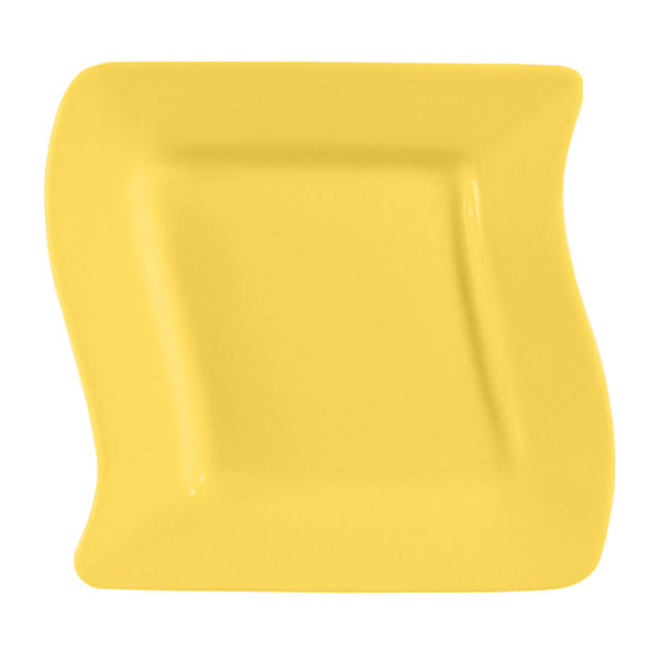 """CAC SOH-6YW Color Soho 6 3/4"""" Yellow Square Stoneware Plate - 36/Case"""