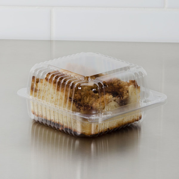 """Dart C20UT1 StayLock 5 1/4"""" x 5 5/8"""" x 2 3/4"""" Clear Hinged Plastic 5"""" Square Container - 125/Pack"""