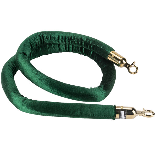 Aarco TR-87 Green 6' Rope with Brass Ends for Crowd Control / Guidance Stanchions Main Image 1