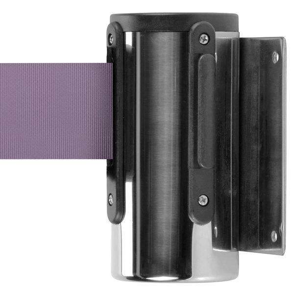 Aarco WM-7C Chrome Wall-Mount Stanchion with 7' Purple Retractable Belt Main Image 1