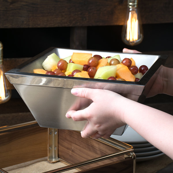 "Cal-Mil 3326-10-55 Square Stainless Steel Cold Concept Bowl - 10"" x 10"" x 4"""