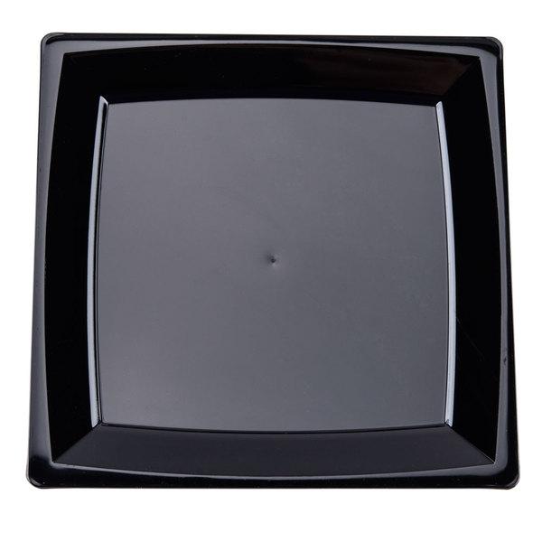 WNA Comet MS6BK 5 1/4 inch Black Square Milan Plastic Dessert Plate  - 168/Case