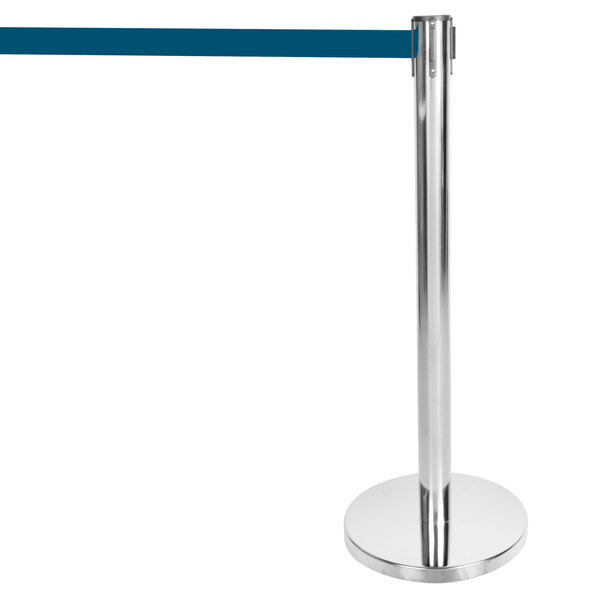 """Aarco HS-10 Satin 40"""" Crowd Control / Guidance Stanchion with 120"""" Blue Retractable Belt Main Image 1"""