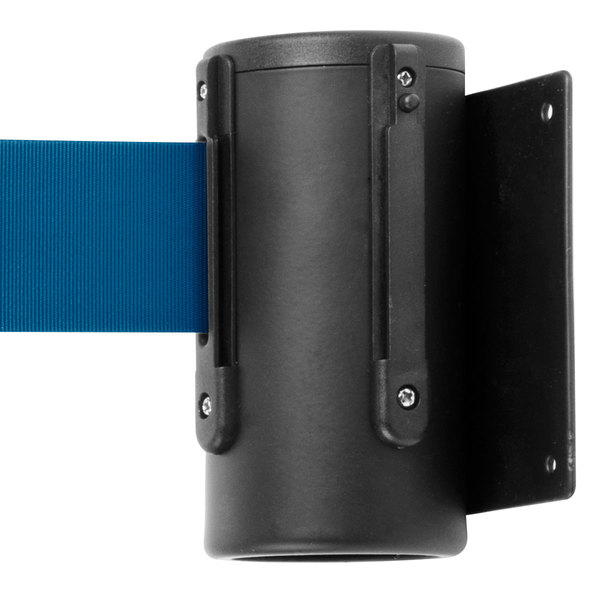 Aarco WM-10BK Black Wall-Mount Stanchion with 10' Blue Retractable Belt Main Image 1