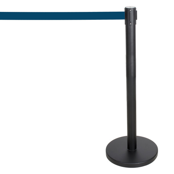 "Aarco HBK-10 40"" Crowd Control / Guidance Stanchion with 120"" Blue Retractable Belt"