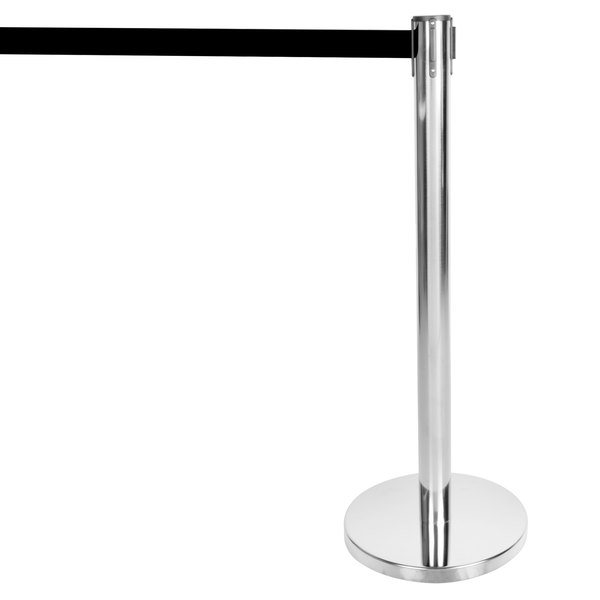 """Aarco HS-10 Satin 40"""" Crowd Control / Guidance Stanchion with 120"""" Black Retractable Belt Main Image 1"""
