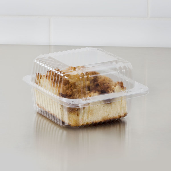 """Dart C20UTD StayLock 5 1/4"""" x 5 5/8"""" x 3 1/4"""" Clear Hinged Plastic 5"""" Square Deep Base Container - 125/Pack"""